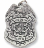 POLICE OFFICER PEWTER KEY CHAIN