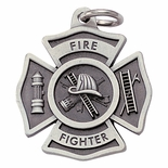 FIREFIGHTER MALTESE CROSS PEWTER KEY CHAIN