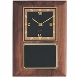 8-1/2 X 12 INCH GENUINE WALNUT CLOCK  PLAQUE WITH SCREENED PLATE