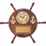 8 INCH GENUINE SHIPWHEEL CLOCK PLAQUE
