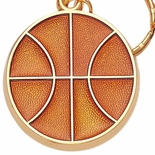 BASKETBALL ENAMELED KEYRING, BAGGED
