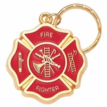 FIRE FIGHTER ENAMELED KEYRING