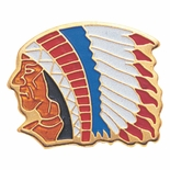 INDIAN CHIEF PIN  ENAMELED