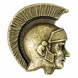 Trojan\Spartan Mascot Antique Brass Pin