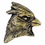 Cardinal Mascot Antique Brass Pin