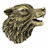 Wolf Mascot Antique Brass Pin