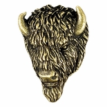 Buffalo Mascot Antique Brass Pin