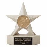 7 INCH SAND COLOR CAST STONE STAR AWARD, HOLDS 2 INCH INSERT