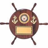 8 INCH GENUINE WALNUT SHIPWHEEL PLAQUE TAKES INSERT