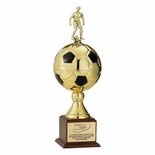 18-1/2 INCH GOLD SOCCER BALL TROPHY WITH 6-1/4 INCH DIAMETER BALL, TAKES FIGURE