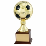 10-1/2 INCH GOLD SOCCER BALL TROPHY WITH 4-3/4 INCH DIAMETER BALL