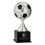 10-1/2 INCH SILVER SOCCER BALL TROPHY WITH 4-3/4 INCH DIAMETER BALL