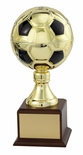 15 INCH GOLD SOCCER BALL TROPHY WITH 7 INCH DIAMETER BALL
