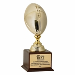 18-1/2 INCH GOLD METAL FOOTBALL TROPHY WITH 12 INCH BALL