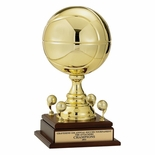17 INCH GOLD METAL BASKETBALL TROPHY WITH 9 INCH DIAMETER BALL AND TRIMS