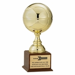 19-1/2 INCH GOLD BASKETBALL TROPHY WITH 9 INCH DIAMETER BALL