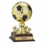 16 INCH GOLD METAL SOCCER TROPHY WITH 9 INCH DIAMETER BALL AND TRIMS
