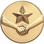 ACHIEVEMENT, STAR, HANDSHAKE, 2 INCH STAMPED INSERT