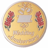 WEDDDING ANIVERSARY, 2 INCH ETCHED ENAMELED