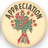 APPRECIATION FLOWERS, 2 INCH ETCHED ENAMELED