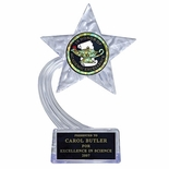 07-1/2 INCH CLEAR ACRYLIC STAR TROPHY, HOLDS INSERT