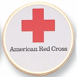 AMERICAN RED CROSS, 2 INCH ETCHED ENAMELED