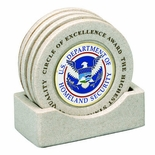CAST STONE COASTERS WITH PLAIN CENTERS
