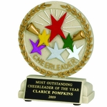 5-1/2 INCH CHEERLEADER STONE RESIN TROPHY - NO PLATE
