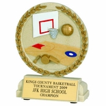 5-1/2 INCH BASKETBALL STONE RESIN TROPHY - NO PLATE