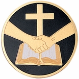 PARTNERS IN FAITH BLACK, 2 INCH ETCHED ENAMELED