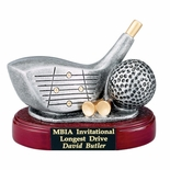 GOLF DRIVER CLUB AND BALL, 4 INCH RESIN TROPHY