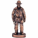 11 INCH FIREFIGHTER TROPHY, ANTIQUE BRONZE