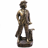 7-1/2 INCH MINUTEMAN FIGURE, ANTIQUE BRASS