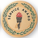 SERVICE AWARD, 2 INCH ETCHED ENAMELED