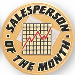 SALES PERSON OF THE MONTH, 2 INCH ETCHED ENAMELED