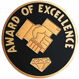 AWARD OF EXCELLENCE, 2 INCH ETCHED ENAMELED