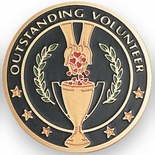 OUTSTANDING VOLUNTEER, 2 INCH ETCHED ENAMELED