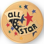 ALL STAR, 2 INCH ETCHED ENAMELED