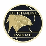 OUTSTANDING ASSOCIATE, 2 INCH ETCHED ENAMELED