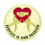 SERVICE IS OUR PASSION, 2 INCH ETCHED ENAMELED