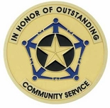 OUTSTANDING COMMUNITY SERVICE, 2 INCH ETCHED ENAMELED