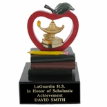 APPLE, LAMP AND BOOKS SCHOLASTIC TROPHY, 5 INCH