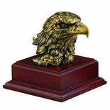6-1/2 INCH BRASS EAGLE HEAD ON BASE, NO PLATE
