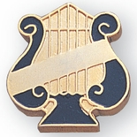 MUSIC LYRE PIN WITH PLAIN BAR