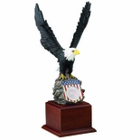 18 INCH HAND PAINTED EAGLE, FLAG SHIELD HOLDS 2 INCH MEDALLION