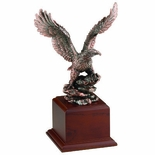 13 INCH BRASS EAGLE TROPHY WITH WALNUT BASE