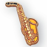 SAXOPHONE PIN ENAMELED GOLD