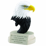 7 INCH RESIN EAGLE HEAD TROPHY ON CAST STONE BASE