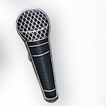 MICROPHONE PIN ENAMELED SILVER