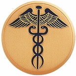 CADUCEUS, 2 INCH ETCHED ENAMELED